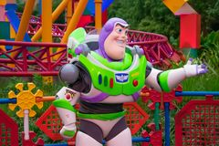 Buzz Lightyear on colorful background in Hollywood Studios at Walt Disney World area  3. Orlando, Florida. March 29, 2019.Buzz Lightyear on colorful background stock images