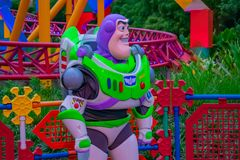 Buzz Lightyear on colorful background in Hollywood Studios at Walt Disney World area  1. Orlando, Florida. March 29, 2019.Buzz Lightyear on colorful background royalty free stock photos