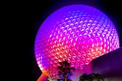 Illuminated sphere Spaceship Earth attraction on night background at Epcot in Walt Disney World  2 royalty free stock images