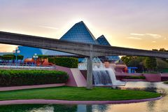 Journey into Imagination attraction , monorail road, fountain on sunset background in Epcot at Walt Disney World. Orlando, Florida. March 19, 2019. Journey into royalty free stock photos