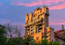 The Twilight zone Tower of Terror on beautiful sunset background at Walt Disney World . royalty free stock photography