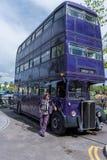ORLANDO, FLORIDA - MAY 06, 2015: Bus and Driver in Universal Orlando, Florida. Bus and Driver in Universal Orlando, Florida Royalty Free Stock Photos