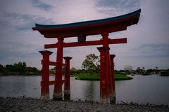 Japanese arch in Epcot at Walt Disney World . stock photos
