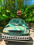 Orlando, Florida - May 09, 2018: Jurassic Park dinosaur and jeep at Universal Studios Islands of Adventure theme park. In Orlando, Florida on May 09, 2018 Stock Images