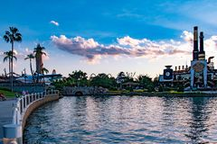 Panoramic view of vintage plane, Island of Adventure lighthouse and Chocolate Emporium restaurant at Universal Studios area . Orlando, Florida. May 21, 2019 stock images