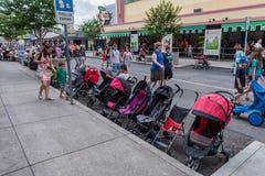 ORLANDO, FLORIDA - MAY 06, 2015: Stroller Parking in Universal Orlando, Florida. Stroller Parking in Universal Orlando, Florida Stock Photography