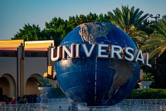 Universal Studios world sphere at Citywalk and palm trees in Universal Studios area. royalty free stock image