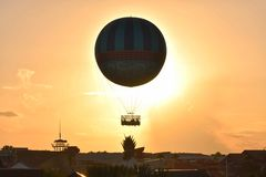 Air Balloon on sunset with shades of yellow, orange and magenta in Lake Buena Vista area. royalty free stock photo