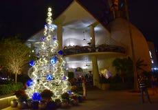 Beautiful illuminated and decorated Christmas Tree on modern building background in Lake Buena Vista area. Orlando, Florida. November 19, 2018 . Beautiful stock photo