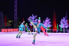 Christmas Ice show with skating elves in International Drive area. stock photos