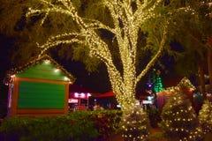 Illuminated holidays trees on Christmas Market background in International Drive area. Orlando, Florida. November 17, 2018. Illuminated holidays trees on royalty free stock image
