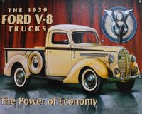 Illustration with truck Ford V-8 model 1939. Vintage Postcard in Kissimmee area. stock images