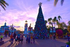 People walking out of the park, near decorated christmas tree on sunset background in International Drive area. Orlando, Florida. November 17, 2018. People stock image