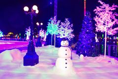 Streelight, Snowman and colorful holiday trees in International Drive area.