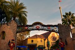 Top view of Christmas Market area and nutcrackers on sunset background in International Drive area . Orlando, Florida. November 19, 2018. Top view of Christmas stock image