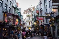 Diagon Alley at Universal Studios Florida. Orlando, Florida: November 30, 2017: The Wizarding World of Harry Potter – Diagon Alley at Universal Studios Royalty Free Stock Photos
