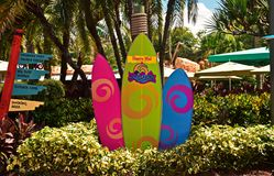 Colorful Surfboards at Seaworld Aquatica. royalty free stock photo