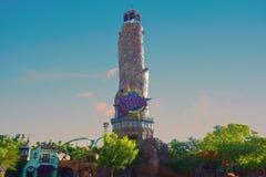 Islands of Adventure sign on lighthouse at Universal Studios city walk. Orlando, Florida; September 3, 2018 Islands of Adventure sign on lighthouse at Universal stock images