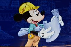 Mickey planning Theme Park construction at Lake Buena Vista area. royalty free stock photo