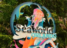 Seaworld Sign close to mainentrance. Orlando, Florida. September 09, 2018 Seaworld Sign close to mainentrance royalty free stock photo