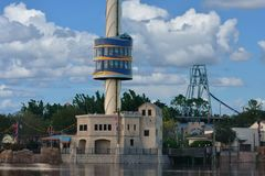 Sky Tower ascending at Seaworld Marine Theme Park. royalty free stock photography