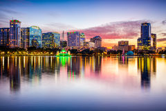 Orlando Florida Skyline. Orlando, Florida, USA downtown city skyline from Eola Park Stock Image