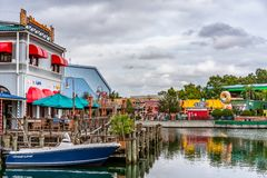 ORLANDO, FLORIDA, U.S.A. - DICEMBRE 2018: Il pescatore Wharf alla zona di San Francisco, Universal Studios immagini stock libere da diritti