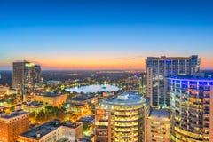 Orlando, Florida, USA aerial skyline towards Lake Eola royalty free stock photography