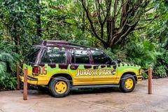 ORLANDO, FLORIDA, USA - DECEMBER, 2018: Adventure Car at Jurassic theme Park, Universal Studios, Islands of Adventure stock photos