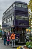 ORLANDO, FLORIDA, USA - DECEMBER, 2018: All destinations, The Knight Bus, used for picking up stranded wizards at Universal royalty free stock photography