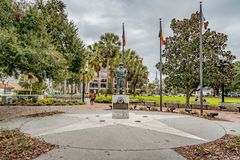 ORLANDO, FLORIDA, USA - DECEMBER, 2018: The Battle of the Bulge Memorial in Lake Eola Park in Downtown Orlando, Florida royalty free stock images