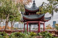 ORLANDO, FLORIDA, USA - DECEMBER, 2018: Beautiful Chinese Bodega at Lake Eola Park in Autumn Season, Downtown Orlando