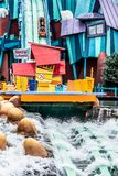 ORLANDO, FLORIDA, USA - DECEMBER, 2018: Dudley Do-Right`s Ripsaw Falls is a log flume ride at Islands of Adventure, Universal stock images