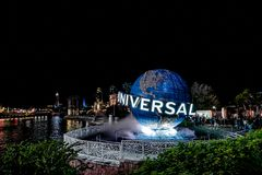 ORLANDO, FLORIDA, USA - DECEMBER, 2017: Highlights of the Iconic Universal Studios globe located at the entrance to the theme park stock image