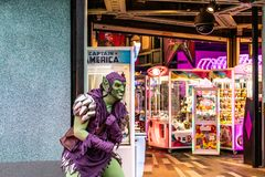 ORLANDO, FLORIDA, USA - DECEMBER, 2018: Norman Osborn, the Green Goblin, Spiderman enemy, Marvel Super Hero Island, Islands of royalty free stock photography