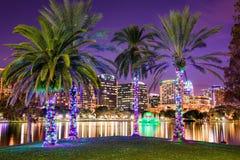 Orlando, Florida, USA. Downtown skyline at Eola Lake Stock Images