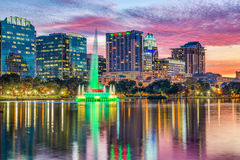 Orlando, Florida, USA. Downtown skyline at Eola Lake Royalty Free Stock Photography
