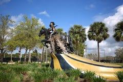 The Charging Knight at the University of Central Florida. ORLANDO, FLORIDA, USA - FEBRUARY 24, 2018: University of Central Florida`s `The Charging Knight Statue royalty free stock photos