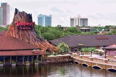 Disney Springs Waterview, Rainforest Cafe, Hotel Plaza Boulevard hotels background, Orlando, stock photo