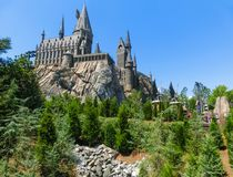 Orlando, Florida, USA - May 09, 2018: The Hogwarts Castle at The Wizarding World Of Harry Potter in Adventure Island of royalty free stock photography