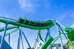 Orlando, Florida, USA - May 10, 2018: Incredible hulk coaster in Adventure Island of Universal Studios Orlando. Universal Studios Orlando is a theme park Stock Images