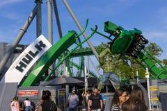 Orlando, Florida, USA - May 10, 2018: Incredible hulk coaster in Adventure Island of Universal Studios Orlando. Universal Studios Orlando is a theme park Royalty Free Stock Photo