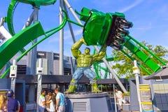 Orlando, Florida, USA - May 10, 2018: Incredible hulk coaster in Adventure Island of Universal Studios Orlando. Universal Studios Orlando is a theme park Stock Photos