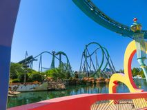 Orlando, Florida, USA - May 10, 2018: Incredible hulk coaster in Adventure Island of Universal Studios Orlando. Universal Studios Orlando is a theme park royalty free stock images