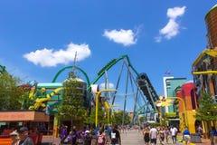 Orlando, Florida, USA - May 10, 2018: Incredible hulk coaster in Adventure Island of Universal Studios Orlando. Universal Studios Orlando is a theme park Stock Photography