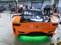 Orlando, Florida, USA - May 10, 2018: The The New Fast Furious Attraction at Universal Orlando Is the Car Lover`s Ride. Orlando, Florida, USA - May 10, 2018: The stock photography