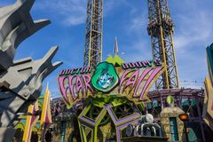 Orlando, Florida, USA - May 10, 2018: Ride Doctor Doom`s Fearfall. Island of Adventure. Universal.Incredible hulk. Orlando, Florida, USA - May 10, 2018: Ride Royalty Free Stock Photo