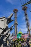 Orlando, Florida, USA - May 10, 2018: Ride Doctor Doom`s Fearfall. Island of Adventure. Universal.Incredible hulk. Orlando, Florida, USA - May 10, 2018: Ride royalty free stock images