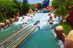 Orlando, Florida, USA - May 09, 2018: Ride Toon Lagoon. Islands of Adventure. Universal. Orlando, Florida, USA - May 09, 2018: The people resting at Ride Toon Royalty Free Stock Photography