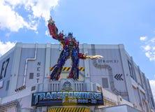 ORLANDO, FLORIDA, USA - MAY 08, 2018: Universal Studios. Entrance of Transformers 3D ride. ORLANDO, FLORIDA, USA - MAY 08, 2018: Universal Studios Entrance of Royalty Free Stock Photos